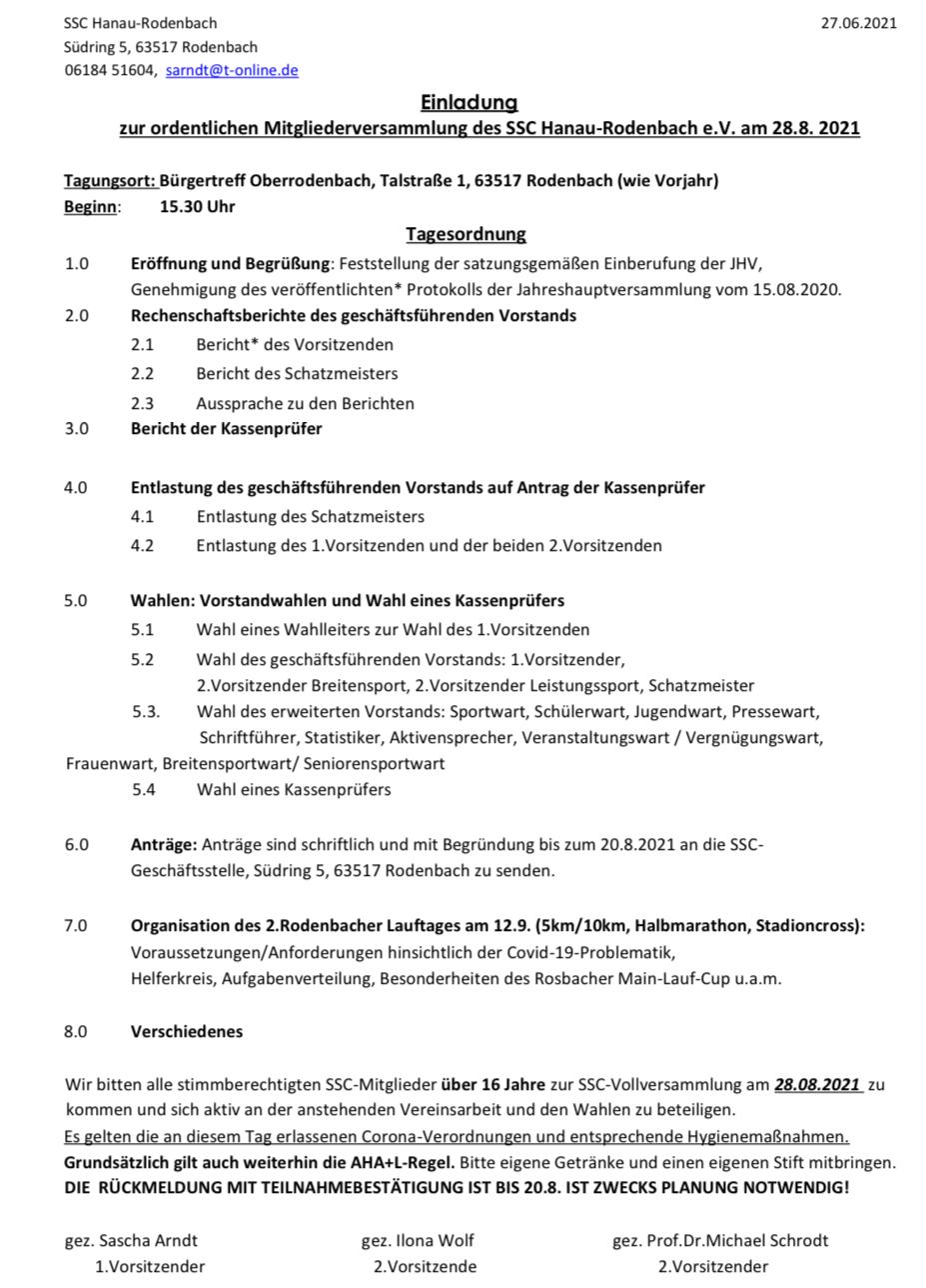 Erinnerung: Einladung zur Jahreshauptversammlung am 28.8.2021 in Rodenbach